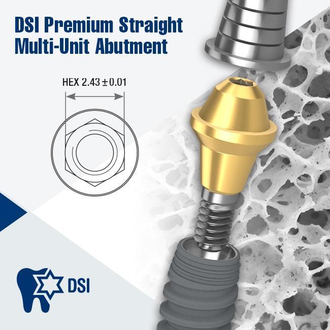 DSI Multi Unit Premium on Conical Orange Implant with Ti-base Short Sleeve